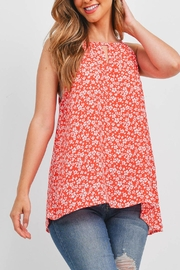 Riah Fashion Sleeveless-Keyhole-Floral-Top - Front cropped
