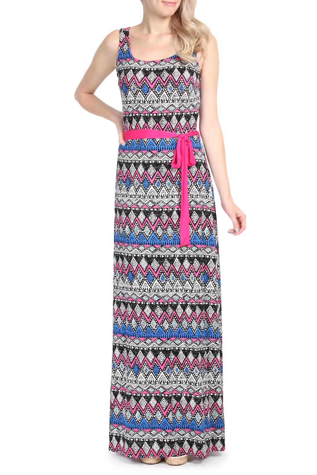 Riah Fashion Tribal Print Maxi Dress - Front Cropped Image