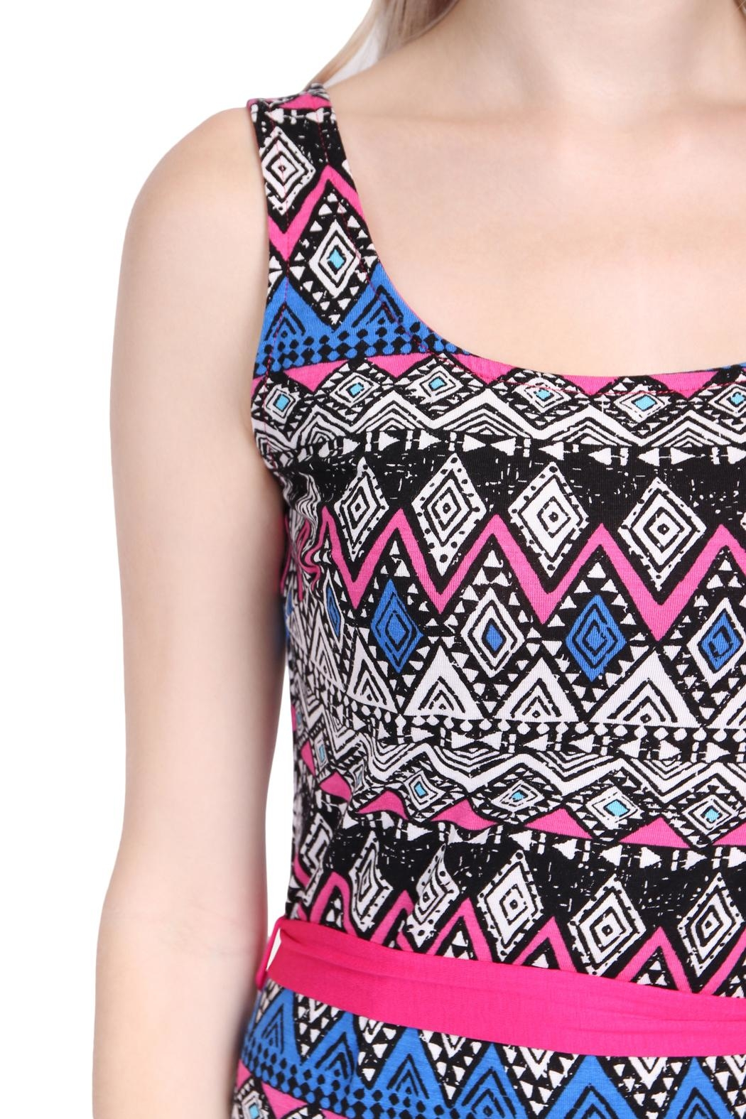 Riah Fashion Tribal Print Maxi Dress - Back Cropped Image