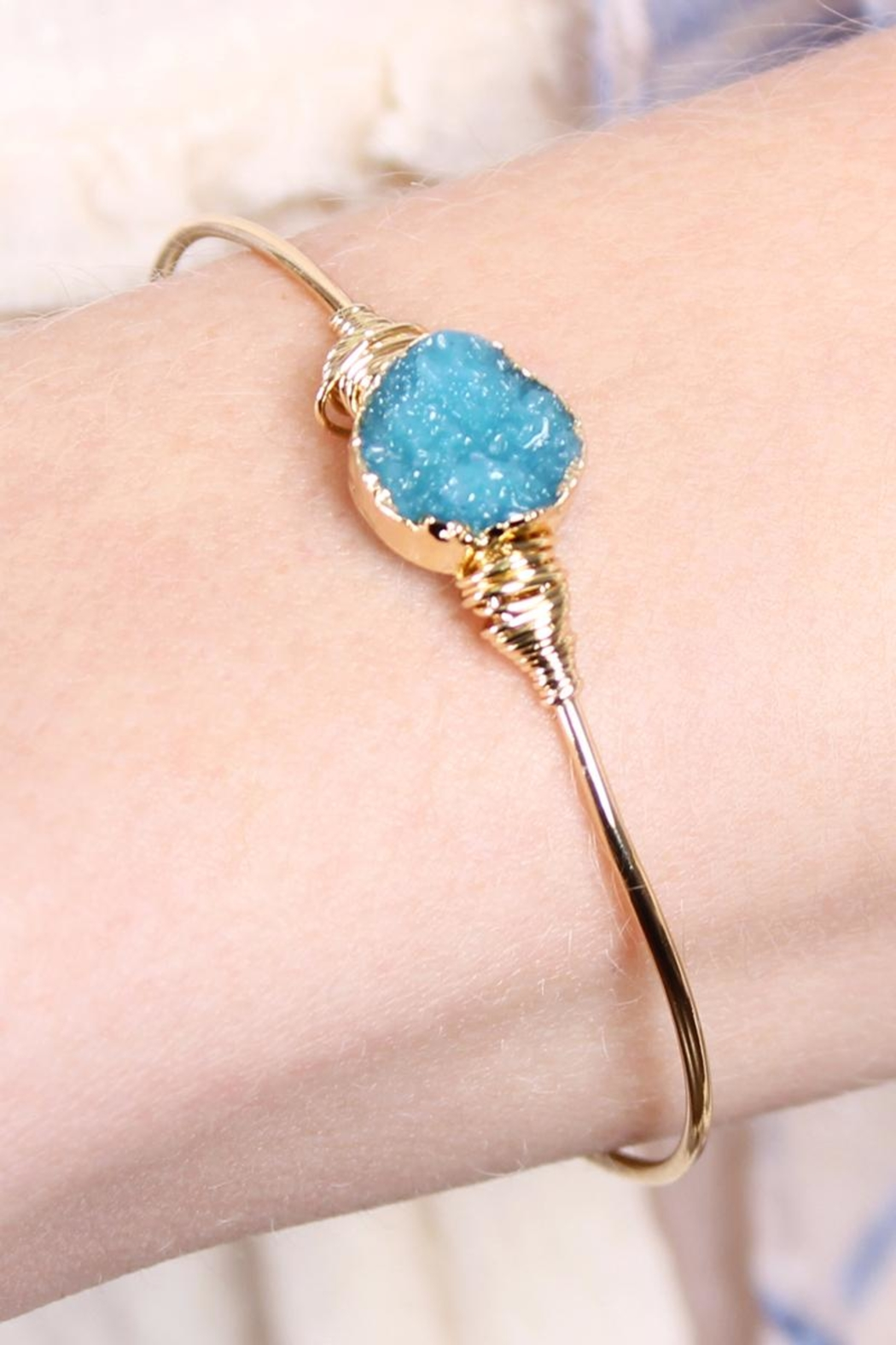 Riah Fashion Small-Wired Round-Resin Druzy-Bracelet - Front Full Image