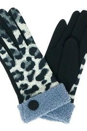 Riah Fashion Smart-Touch-Leopard-Sherpa-Cuff-Button-Gloves - Product Mini Image