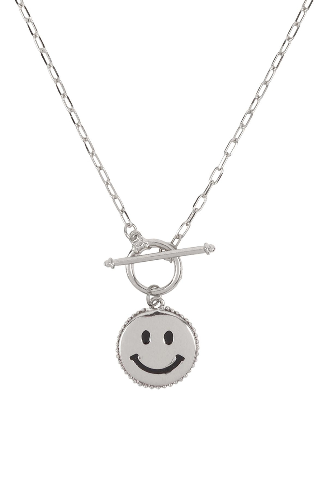 Riah Fashion Smile-Metal-Pendant-Toggle-Necklace - Front Cropped Image