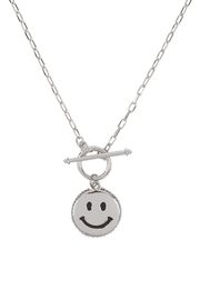 Riah Fashion Smile-Metal-Pendant-Toggle-Necklace - Front cropped