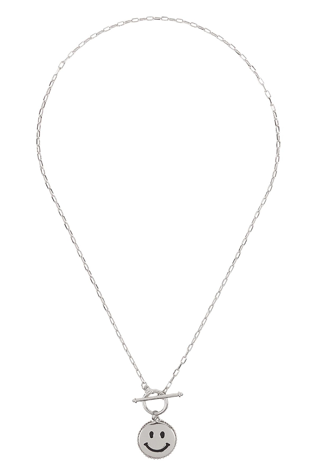 Riah Fashion Smile-Metal-Pendant-Toggle-Necklace - Front Full Image