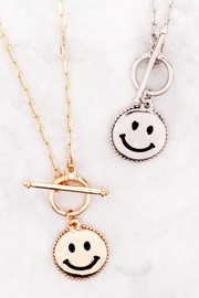 Riah Fashion Smile-Metal-Pendant-Toggle-Necklace - Side cropped