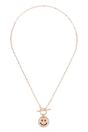 Riah Fashion Smile-Metal-Pendant-Toggle-Necklace - Front full body