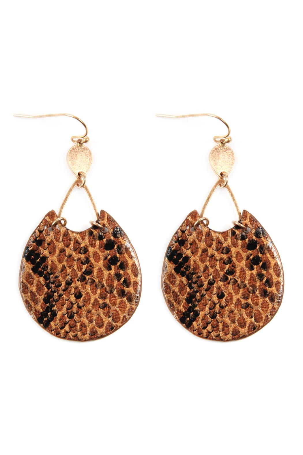 Riah Fashion Snake Print-Pu-Leather-Earrings - Front Cropped Image