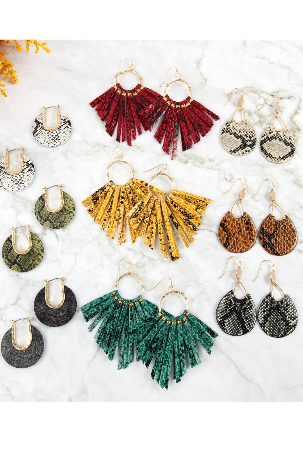 Riah Fashion Snake Print-Pu-Leather-Earrings - Front Full Image
