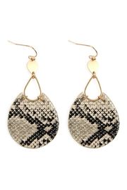 Riah Fashion Snake Print-Pu-Leather-Earrings - Front cropped