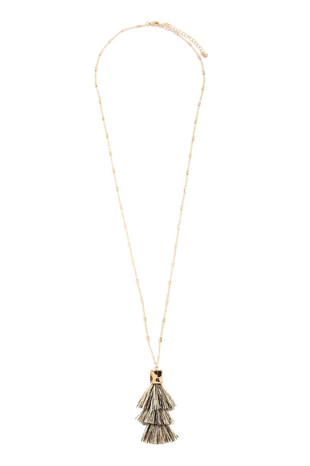 Riah Fashion Snake Pu With-Tassel-Necklace - Front Full Image