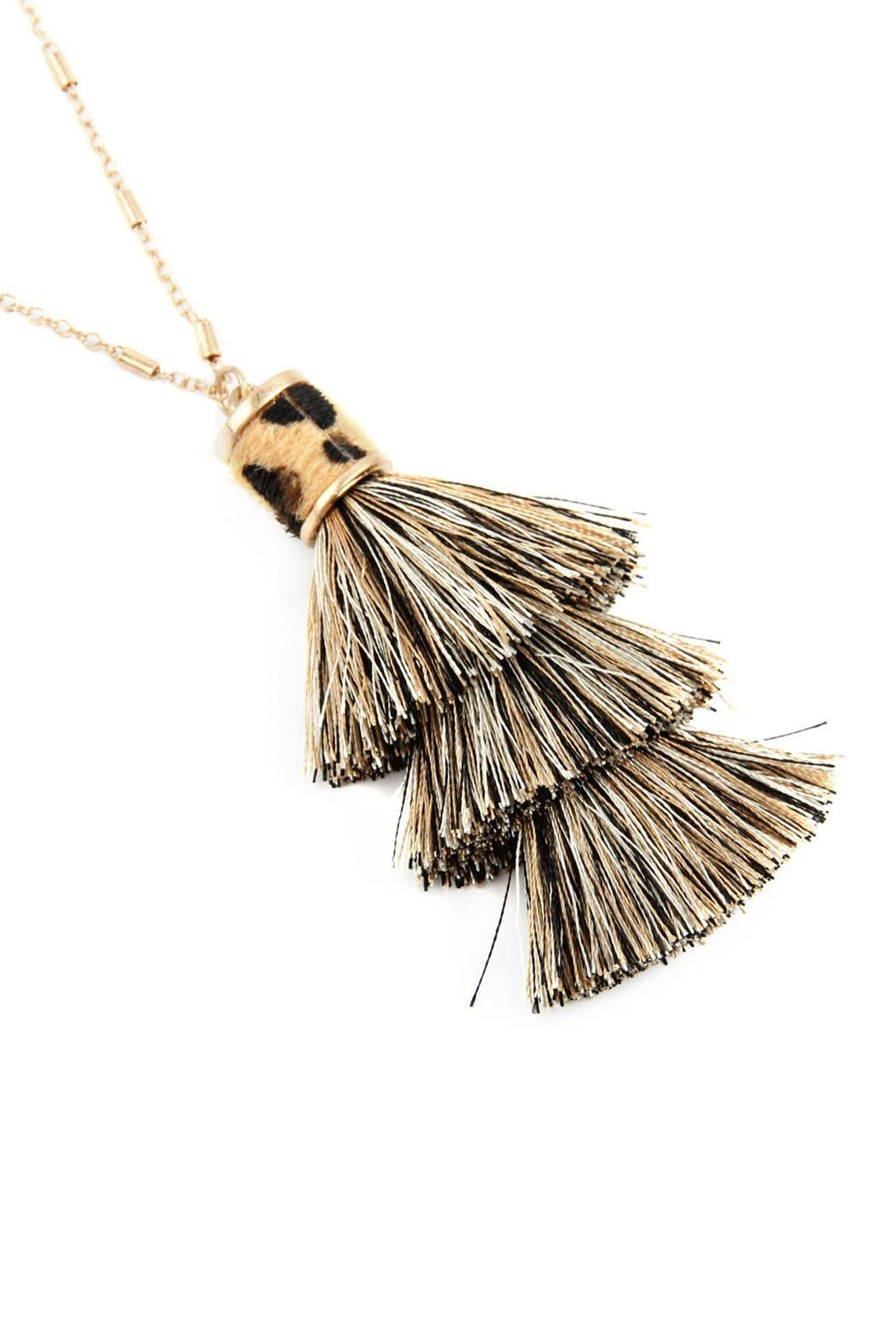 Riah Fashion Snake Pu With-Tassel-Necklace - Front Cropped Image