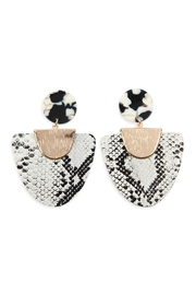 Riah Fashion Snake-Skin Fan-Shape-Leather Acrylic-Post-Earrings - Product Mini Image