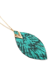 Riah Fashion Snake Skin Fringe Leather-Marquise-Pendant-Necklace - Product Mini Image