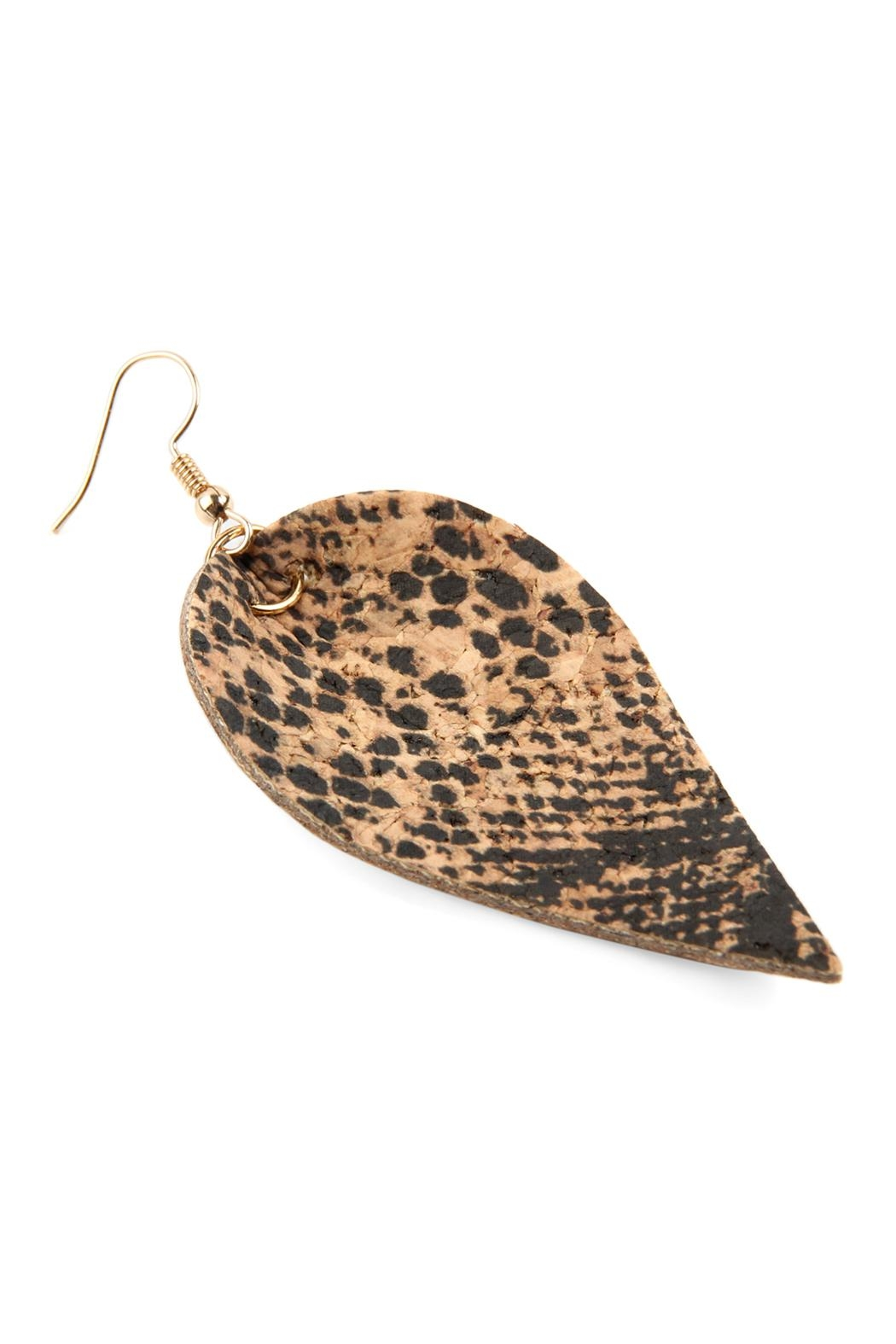 Riah Fashion Snake Skin-Leaf Shape-Cork-Earrings - Front Full Image