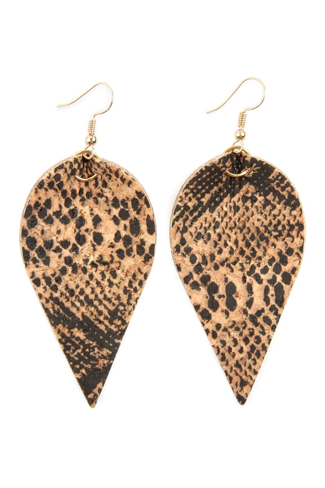 Riah Fashion Snake Skin-Leaf Shape-Cork-Earrings - Main Image