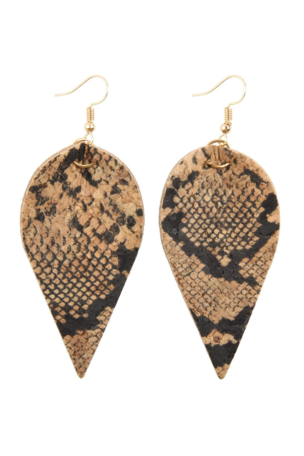 Riah Fashion Snake Skin-Leaf Shape-Cork-Earrings - Front Cropped Image