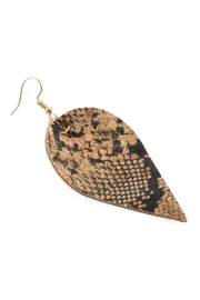 Riah Fashion Snake Skin-Leaf Shape-Cork-Earrings - Front full body