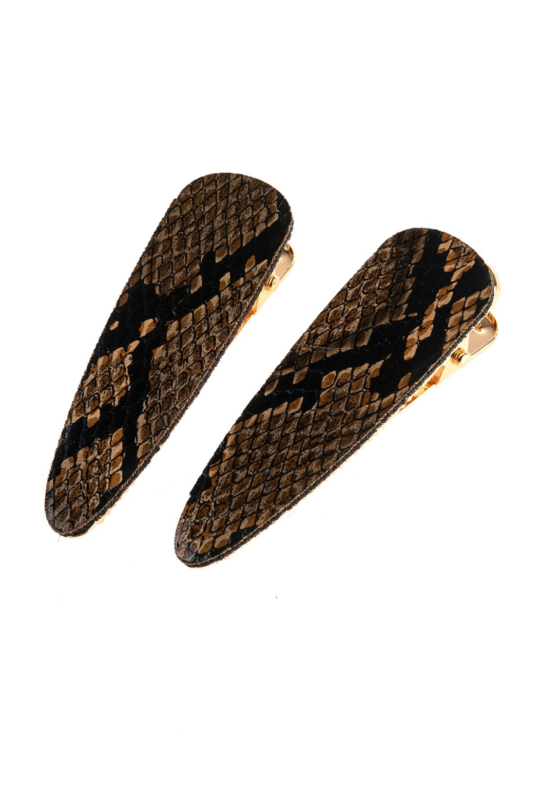 Riah Fashion Snake Skin Leather Hair Clip - Front Cropped Image