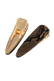 Riah Fashion Snake Skin Leather Hair Clip - Front full body