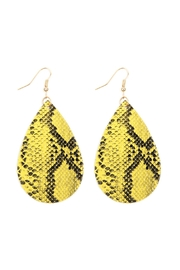 Riah Fashion Snake Skin Leather Teardrop Earrings - Product Mini Image