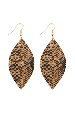 Shoptiques Product: Snake-Skin-Marquise Cork-Drop-Earrings