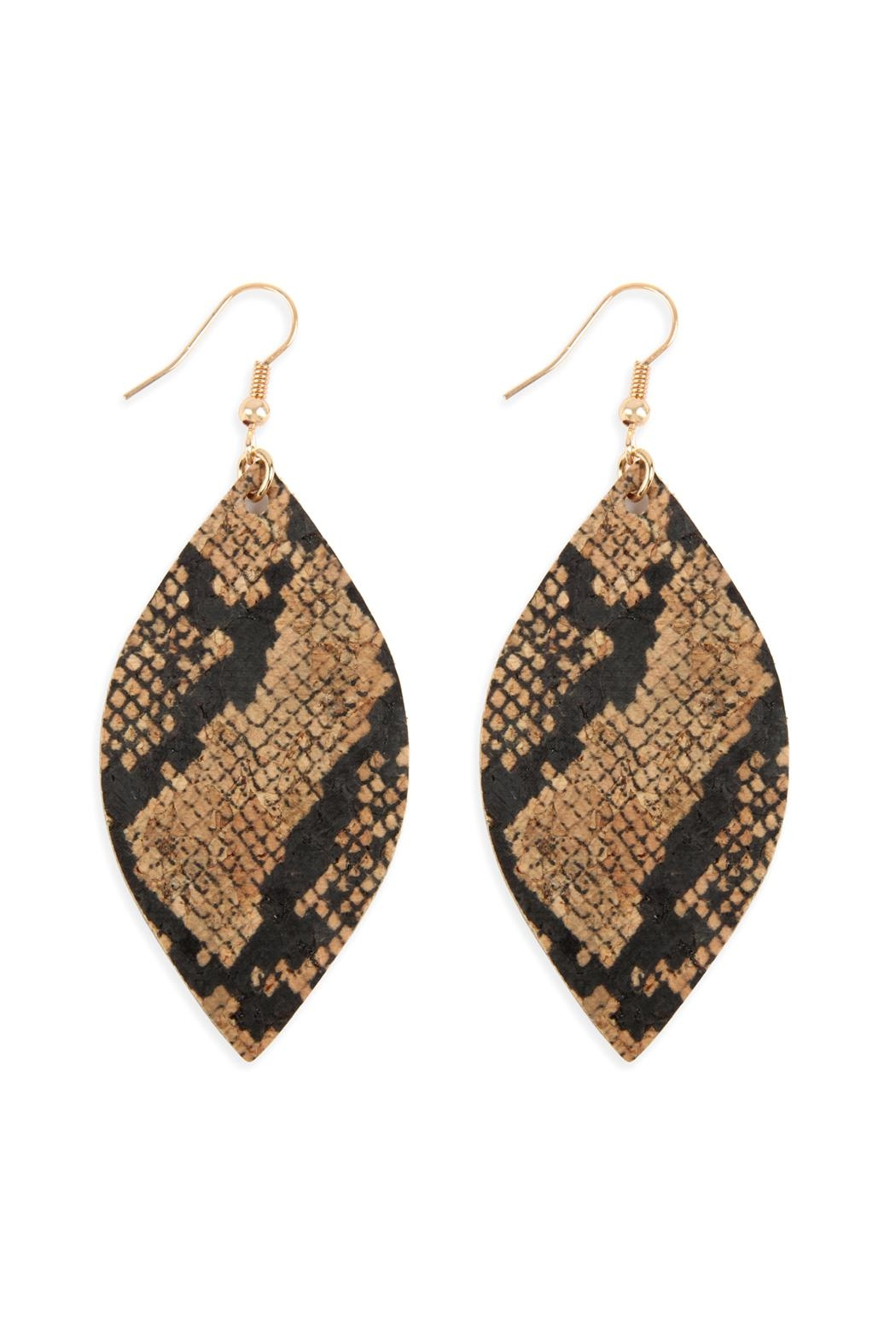 Riah Fashion Snake-Skin-Marquise Cork-Drop-Earrings - Front Cropped Image