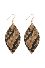 Riah Fashion Snake-Skin-Marquise Cork-Drop-Earrings - Front cropped