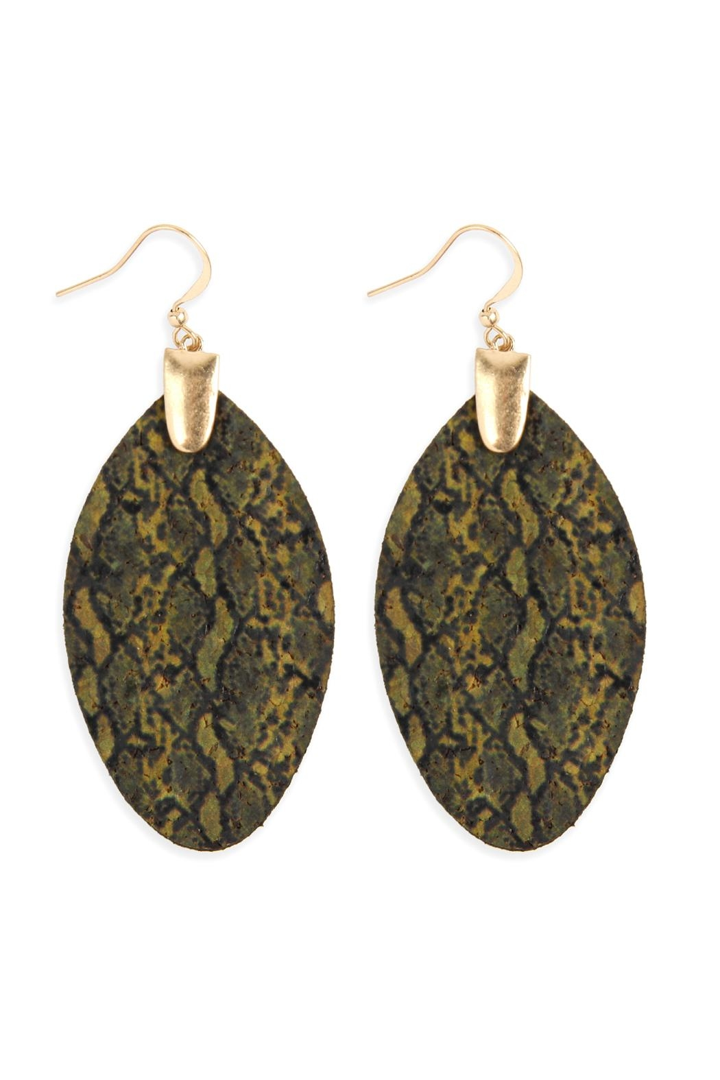Riah Fashion Snake Skin-Marquise-Cork Fish-Hook-Earrings - Front Cropped Image