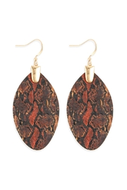Riah Fashion Snake Skin-Marquise-Cork Fish-Hook-Earrings - Front cropped
