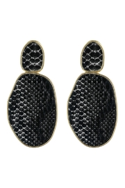 Riah Fashion Snake Skin-Printed-Faceted Post-Earrings - Product Mini Image