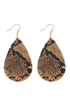 Shoptiques Product: Snake Skin Teardrop Cork Earrings