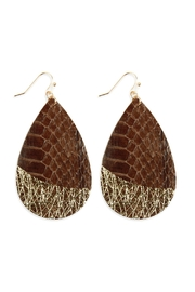 Riah Fashion Snake Skin Teardrop Fish Hook Earrings - Product Mini Image