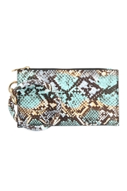 Riah Fashion Snake-Skin Zippered-Bag With-Ring-Holder - Front cropped