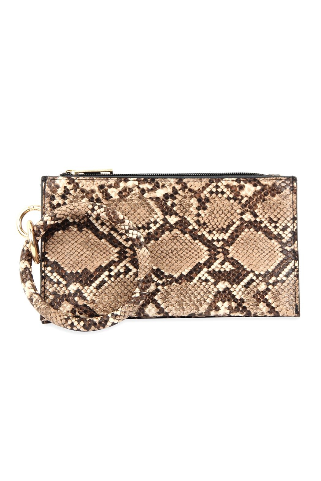 Riah Fashion Snake-Skin Zippered-Bag With-Ring-Holder - Front Cropped Image