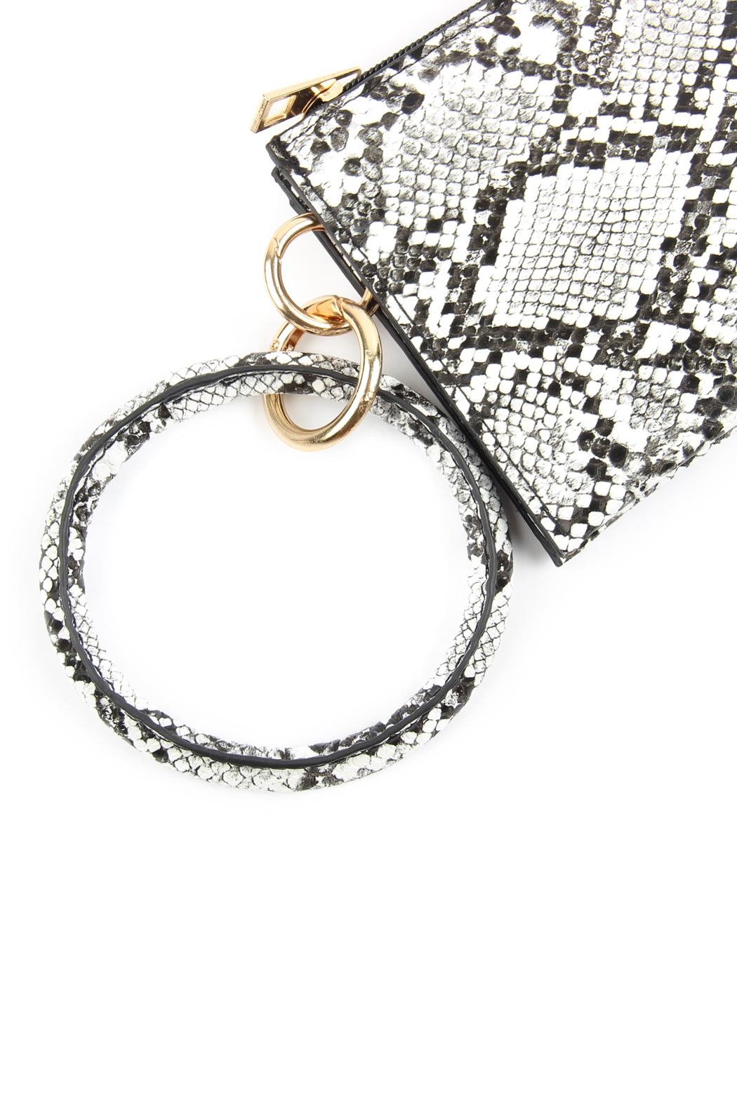 Riah Fashion Snake-Skin Zippered-Bag With-Ring-Holder - Front Full Image