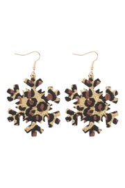Riah Fashion Snowflake-Leopard-Print-Genuine-Leather-Hook-Earrings - Front cropped