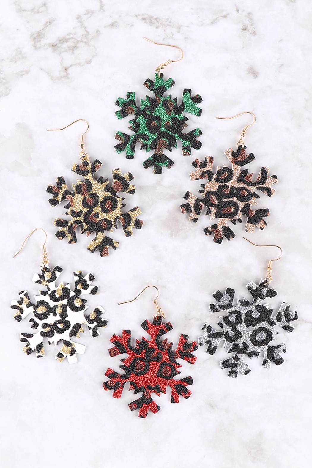 Riah Fashion Snowflake-Leopard-Print-Genuine-Leather-Hook-Earrings - Front Full Image