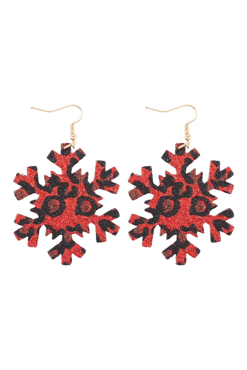 Riah Fashion Snowflake-Leopard-Print-Genuine-Leather-Hook-Earrings - Front Cropped Image