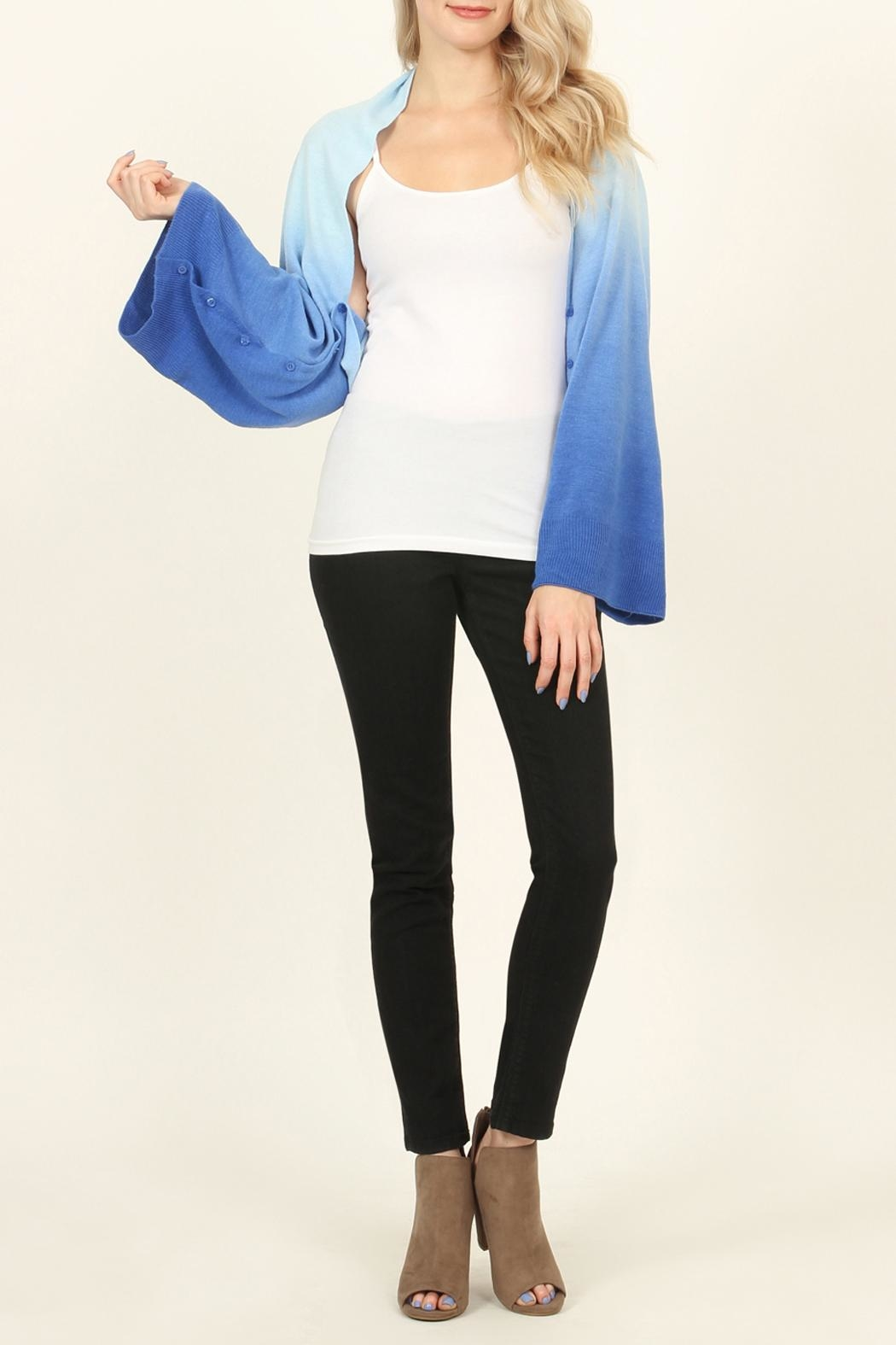 Riah Fashion Soft Ombré Button Cardigan - Side Cropped Image