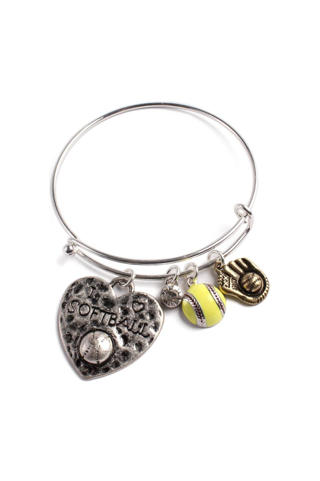 Riah Fashion Softball Charm Bracelet - Front Cropped Image