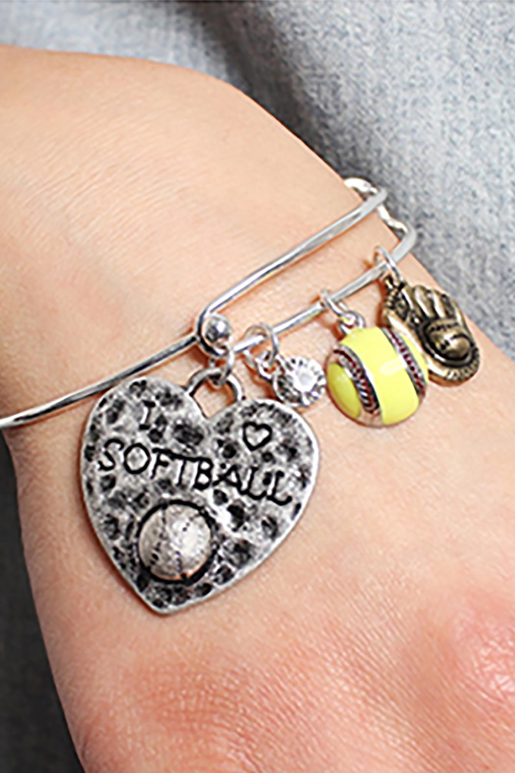 Riah Fashion Softball Charm Bracelet - Main Image