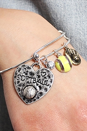 Riah Fashion Softball Charm Bracelet - Front full body