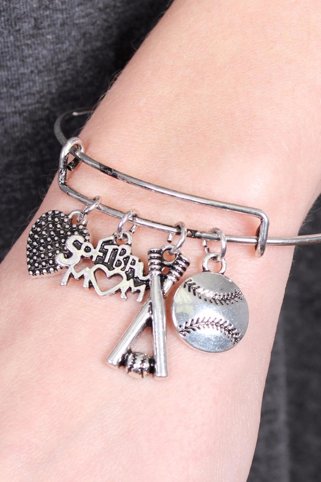 Riah Fashion Softball Mom Wired-Sports-Bracelets - Front Full Image