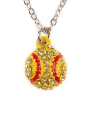 Riah Fashion Softball-Rhinestone-Simple-Necklace - Front cropped