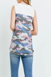 Riah Fashion Solid-Contrast-Camo-Print-Sleeveless-Swing-Top - Front full body