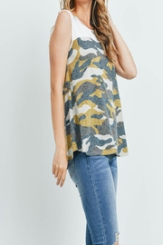 Riah Fashion Solid-Contrast-Camo-Print-Sleeveless-Swing-Top - Back cropped