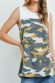 Riah Fashion Solid-Contrast-Camo-Print-Sleeveless-Swing-Top - Other