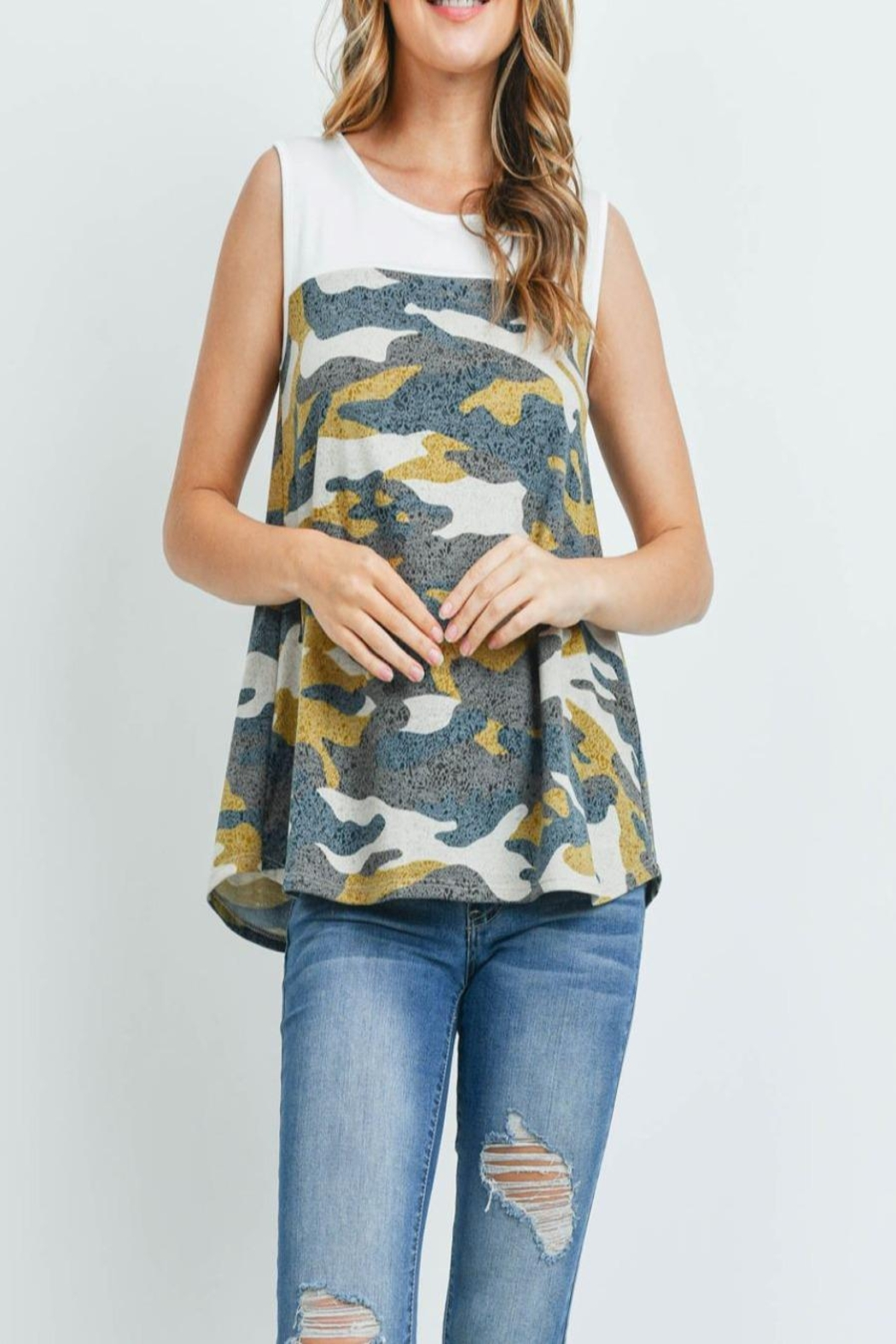 Riah Fashion Solid-Contrast-Camo-Print-Sleeveless-Swing-Top - Front Cropped Image