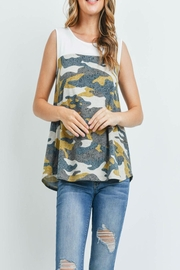 Riah Fashion Solid-Contrast-Camo-Print-Sleeveless-Swing-Top - Front cropped