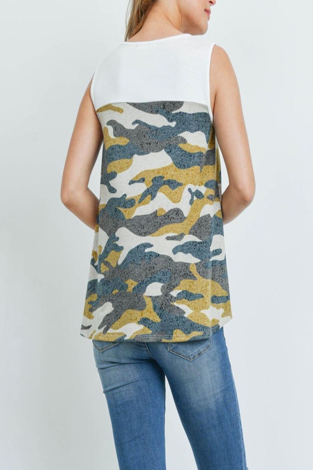 Riah Fashion Solid-Contrast-Camo-Print-Sleeveless-Swing-Top - Front Full Image